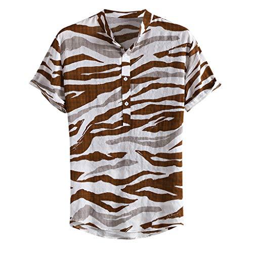 Luckycat Freizeithemd - Herren Sommer Freizeit Hemd Kurzarm Slim Fit Reise Hawaiihemd für Männer Herren Hawaiihemd Farbverlauf Gedruckt Muster Kurzarm Freizeit Hemd Button Down Graphic Hemden Shirts -