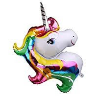 B Blesiya Rainbow Unicorn Foil Balloon Kids Birthday Party Decor 50.78 x 36.61 inch