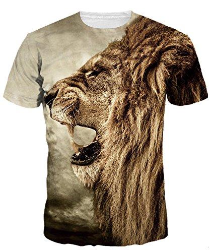 t-Shirts Herren Rundhals 3D Druckten Damen Unisex T-Stücke Digital Gedruckte Kurzarm Tees Tops Löwe 1,EU XL -