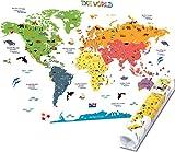 HomeEvolution, mappa del mondo educativa grande e rimovibile;adesivi da parete per bambini; decorazione murale per asilo e stanza dei giochi