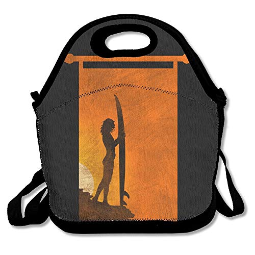 Surfer Girl Surfing Board Lunch Bag Tote Handbag Lunchbox For School Work Outdoor (Tote Board)