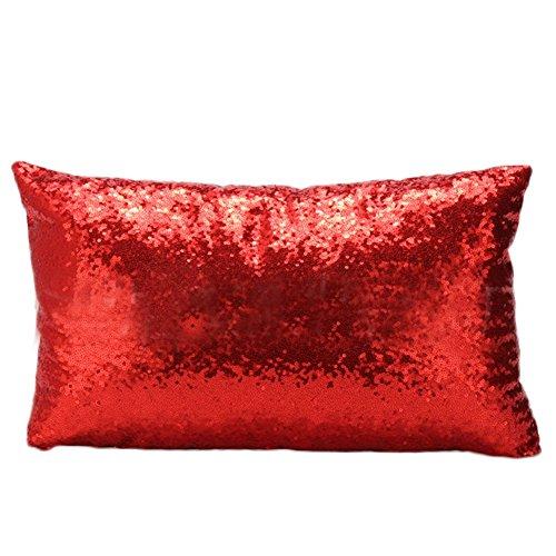 Lumanuby 1x sofá almohada de rectángulo forma brillante pura Color Rojo Cojín...