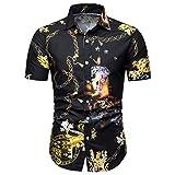CICIYONER Herren Hemd Männer Sommer Bohe Floral Kurzarm Basic T Shirt Bluse Top Plus Größe S M L XL XXL