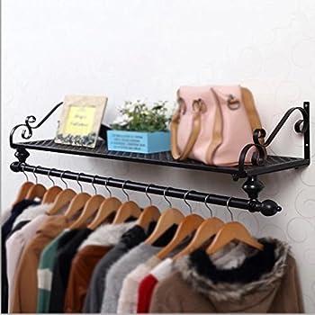 Size : 60x29x16cm industrielle Kleiderstange H/ölzerne Wand kleidet h/ängende Stange Kleiderst/änder-Handelskleidungs-Pr/äsentationsst/änder