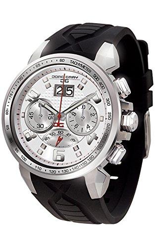 Jorg Gray-Orologio da uomo al quarzo con Display con cronografo e cinturino in gomma, JG 5600-24, colore: nero