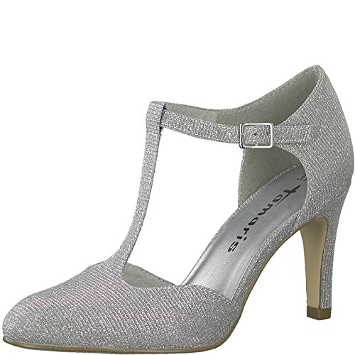 Tamaris Damen Riemchen Pumps 24427-31,Frauen Pumps,Spangenpumps,T-Spange,elegant,edel,Office-Schuh,Business-Schuh,Büro-Pump,Stiletto 8.5cm,Silver Glam,EU 41