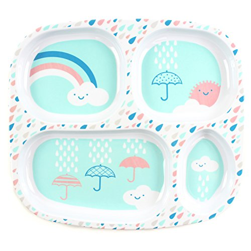 Bumkins Babyteller Kinderteller aus Melamin für Baby Led Weaning (Rain Cloud) - Cloud-schüssel