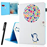 "ipad Pro 9.7"" Case , WeloveCase Synthetic Leather Stand Flip Slots Magnetic Design Cute Cover , Premium Card Holder Soft Silicone Cover Inside Removable Protective Case for ipad Pro 9.7"" - Penguin [Pen Included]"