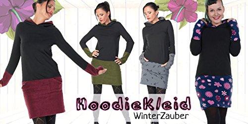 Hoodiekleid Winterzauber der Marke 3Elfen fair hergestellt in Berlin navy pink lady