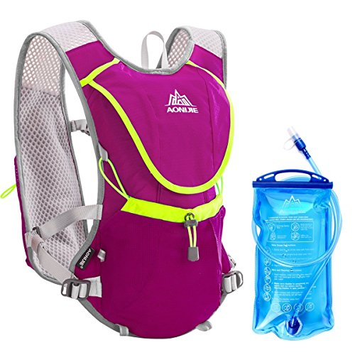 Geila Sport Draußen Weg Marathoner Laufen Rennen Hydratation Weste Hydratation Pack Rucksack mit 1 Wasser Blase (rosarot) (Hydratation Blase Mundstück)