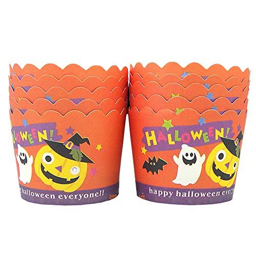 en Papier Backen Tassen Fällen Muffin Backen Papierkuchen Tassen Liner Cupcake Wrappers Halloween für Cupcake Deko Hochzeit Party 24 Stück (Orange) ()