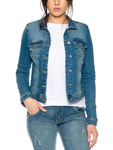 ONLY Damen Jeans-Jacke/ Übergangsjacke mit leichten Stretchanteil in modernem Look in blau, Größe:36