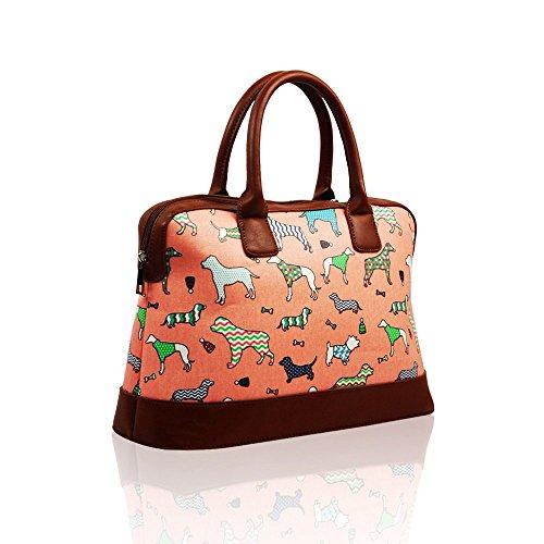 VENDITA Dogs & Pups, design di 'Cath Kidston', borsetta estiva con chiusura a cerniera, rivestimento in tela impermeabile. Dark Pink