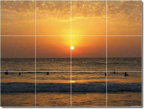 PUESTAS DE SOL FOTO BAñO AZULEJO MURAL 19  12 75X 17PULGADAS CON (12) 4 25X 4 25AZULEJOS DE CERAMICA