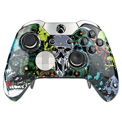 Glossy Perfekte Finish (eXtremeRate Gemustert Front Gehäuse Shell Frontplatte, für Xbox One Elite Controller mit Thumbstick Accent Ringe)