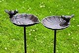 Abbeveratoio uccelli, Bar in giardino bagno uccello, in ghisa, 1 Pezzo, 20 cm x 14 cm x 98 cm
