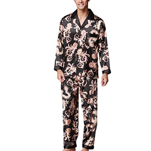 Zhhlinyuan Men's High Quality Satin Pyjama Sets Nightdress YT16QTZ070 Black