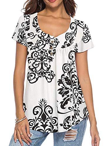 Floral-design-t-shirt (KISSMODA Damen Tops Kurzarm Floral Lässige Bluse T-Shirts Weiß XLarge)