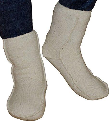 SamWo, elastische Fußwärmer Übersocken Floor 100% Schafwolle (40-43, natur)
