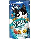 Felix Party Mix Snack per il Gatto, Ocean Mix al Gusto di Salmone, Merluzzo e Trota, 60 g - Confezione da 8 Pezzi