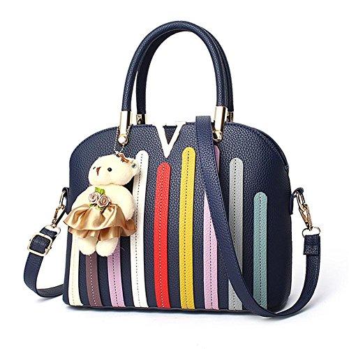LDMB Damen-handtaschen Frauen PU-lederne große Kapazitäts-Normallack-Schulter-Beutel-Kurier-Handtaschen-justierbare einfache wilde Einkaufstasche deep blue
