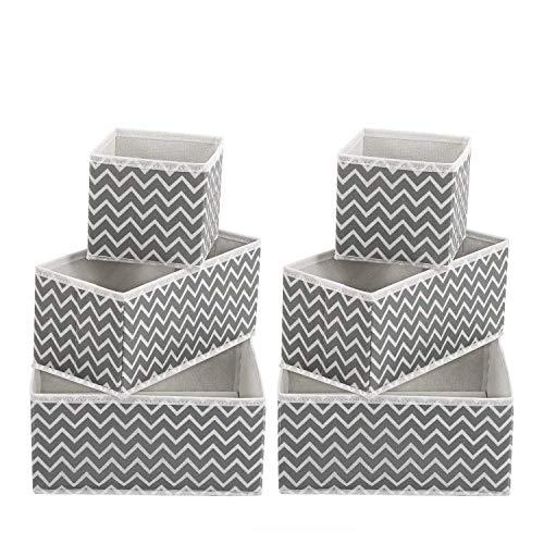 MaidMAX Organizadores de cajones Cajas organizadoras para cajones Escritorio Armario Set de 6 Cajas Plegables de Almacenamiento de Ropa Interior, Calcetines, Calzoncillos, Zigzag Gris/Blanco