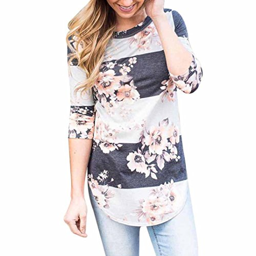 b7908815c4337e OVERDOSE Mokingtop Damen Floral Splice Printing Rundhals Pullover Bluse  Tops T-Shirt (S