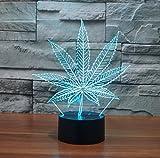 Lampe de table à LED Led Illusion 7 couleurs Change Night Light pour la décoration de la chambre Décoration Anniversaire de mariage Noël et Valentine Cadeau Ambiance artistique et romantique(feuilles de cannabis)