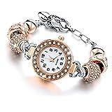 Beloved  Montre bracelet pour femme avec cristaux - bracelet avec beads plaque en argent compatible pandora - perles de verre, cristaux et métal - réglable jusqu'à 21 cm (Or rosè)