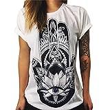 LAEMILIA Damen T-Shirt Bluse Weiß Boyfriend Stil Baumwolle mit Modern Druck Shirt Tops Hemd