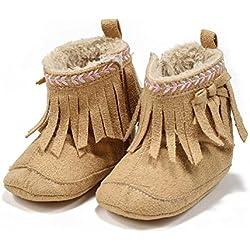 Itaar Zapato para Bebé Primeros Pasos Botita para Niñas con Bordado y Borlas (11, Khaki)