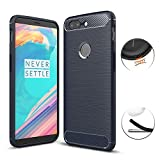 Cover Oneplus 5T, Maxku Custodia Oneplus 5T Silicone Molle Black Cover per Oneplus 5T Soft TPU Case Blu