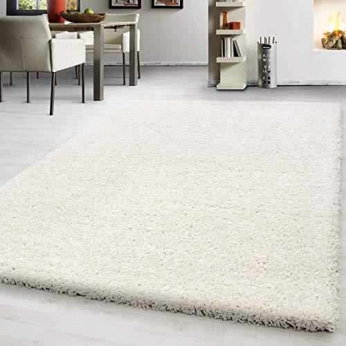 Teppium altezza pelo alto rettangolo shaggy tappeto shaggy e tondo 3 cm altezza pelo uni colore soggiorno, farbe:avorio, maße:300x400 cm