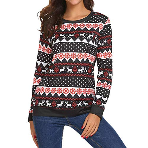 BIRAN Maglioni di Natale Tops Ladies Elk Snowflake T Shirt Grazioso Maglie  A Manica Lunga Felpe 8100c9a09065