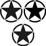 3 Stück Sterne 7cm schwarz matt USA Army MP Auto Jeep Tuning Aufkleber Tattoo die cut Deko Folie