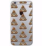 Coque smartphone Iphone 6 et 6S en Gel silicone souple transparent , smiley , emoji , drole , fun , caca , crotte