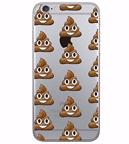 Coque Iphone 5 et 5S en Gel silicone souple transparent , smiley , emoji , drole , fun , caca , crotte Smiley caca