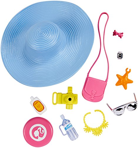Barbie Mattel Fashions Accessories Range – Beach Set, with sun hat and Handbag – FKR90 Frisbee, Camera, Sunscreen Jewellery – .