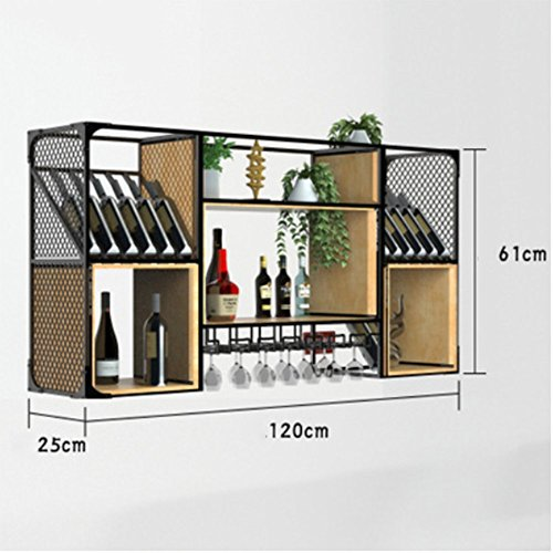 L&LQ Industrielle Wind Schmiedeeisen Weinschrank Wandbehang Restaurant Bar Tisch Weinregal Vitrine,...