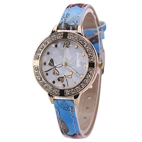 Design Annual Ca (Sanwood Damen-Armbanduhr mit Libellen-Muster, Armband mit Blumen-Design, Blau)