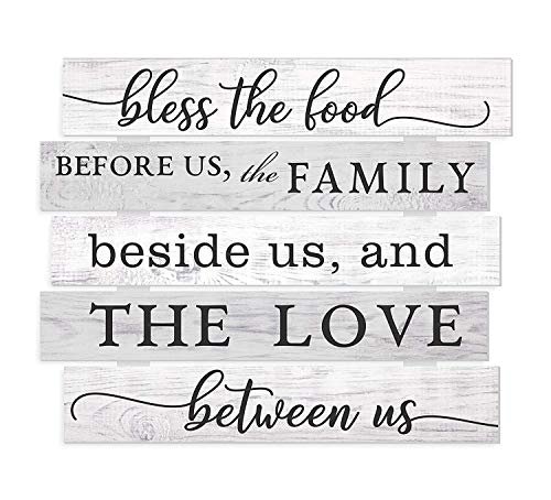 CELYCASY Wood Products Wandschild Bless The Food Before Us The Family Beside Us and The Love Between Us (englischsprachig), 38,1 x 45,7 cm