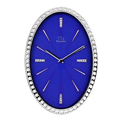 ZHDC® Persönlichkeit Wanduhr Kreativ Mute Diamant Oval Wohnzimmer Quarz Uhr Hauptwanduhr ( Farbe : #2 ) (31 Tag-uhr Pendel)