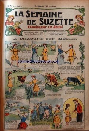SEMAINE DE SUZETTE (LA) [No 7] du 15/03/1923 - A CHACUNE SON METIER - BECASSINE ALPINISTE