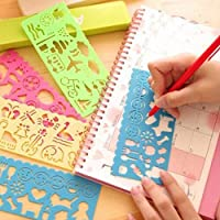 gohigher 4 Pcs Kid Art Graphics Drawing Template Ruler Multi Purpose Diy Stencil Stationery
