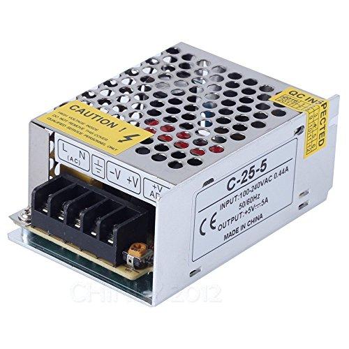 CHINLY AC 110/220V Zu DC5V 5A 25W LED-Treiber Schalter Netzteil Transformator Stromversorgung für WS2811 2801 WS2812B WS2813 APA102 LED-Leiste Transformatoren Ac Zu Ac
