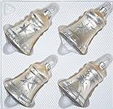 4 TLG. Glas-Glocken Set in Ice Champagner Silber Komet - Christbaumkugeln - Weihnachtsschmuck-Christbaumschmuck