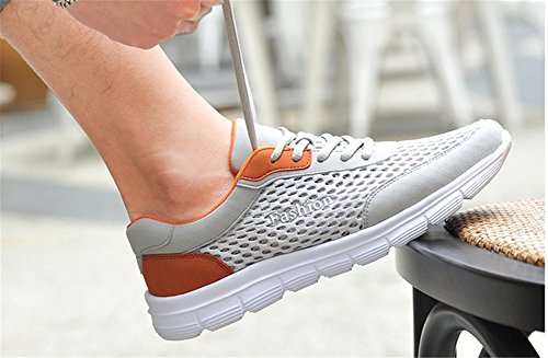 Wealsex Baskets Basse En Mesh Léger Chaussures de Sport Course Fitness Gymnastique Compétition Entraînement Respirante outdoor Homme grande mesh gris