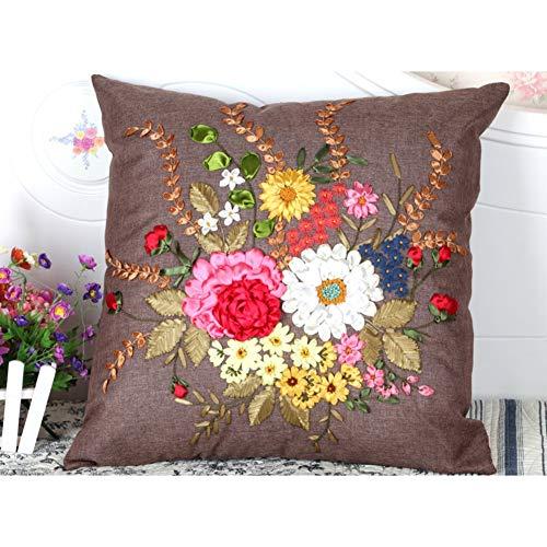 FORTR Home Rücken & Körper Kissen Stickerei Kissen/Sofa Rückenkissen/Bürostuhl Kissen-A 60X60cm (24x24 Zoll) (Color : A, Size : 60X60cm(24x24inch))
