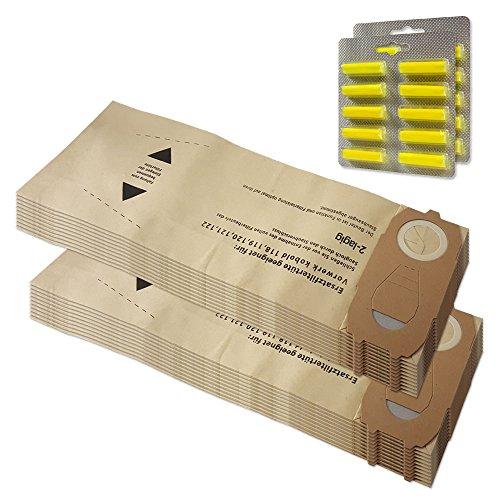 Top Set–20Bolsas de aspiradora + 20ambientadores para Vorwerk Kobold VK 118, 119, 120, 121, 122VK118, VK119, VK120, VK121, 122