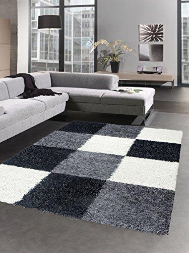 Shaggy Teppich Hochflor Langflor Bettvorleger Wohnzimmer Teppich Läufer Karo schwarz grau creme Größe 80x150 cm